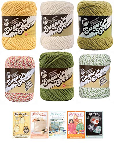 Lily Sugar n' Cream Variety Assortment 6 Pack Bundle 100% Cotton Medium 4 Worsted with 5 Patterns (Multi 7)