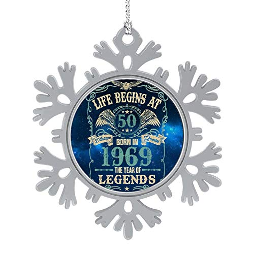 Enylvjoy Mens 50th Birthday Gift - Life Begins at 50 Christmas Hanging Snowflake Alloy Decorations with Lanyard,Christmas Souvenirs, Personalized Holiday Decorations Present