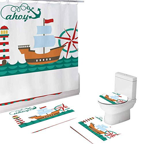 Ahoy 4 Piece Bathroom Set,Sail Boat on Sea Waves Lighthouse,72'x72'Shower Curtains with Toilet Pad Cover Bath Mat Shower Curtain Set Teal Brown Red