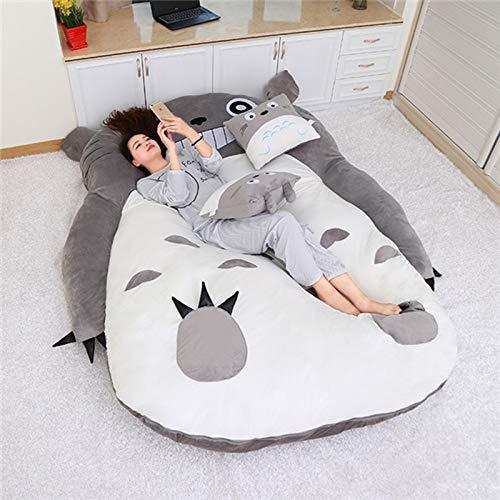Qianyuyu Tatami Matratze Matten Cartoon Plüsch Totoro Lazy Schlafsofa Anime Sitzsack Matratze für Kinder Kreative Schlafsaal Matratze Klappbarer Kleiner Schlafzimmer Stuhl,002,130 * 200 cm