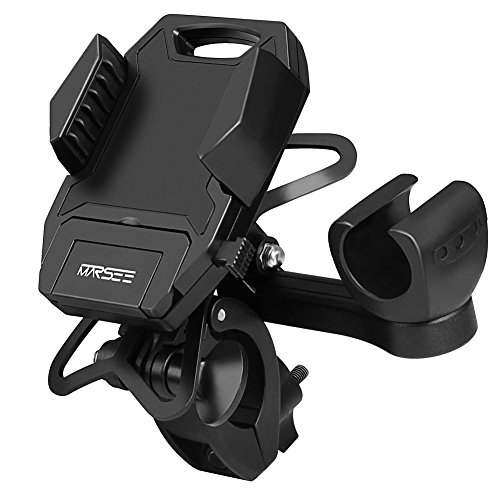 MARSEE Bike Phone Mount Bicycle Holder, Universal Bicycle Motorcycle Cradle Clamp for iOS Android Smartphone,Boating GPS GoPro,with One-Button Released,Flashlight Holder,360 Degrees Rotatable
