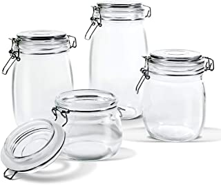 Glass Jar Set with Airtight Lids 4 PCS Kitchen Preserving Storage Jars for Cereal,Cookies,Sugar,& Coffee (16.9oz,25.7oz,33.8oz,50.7oz) Masthome