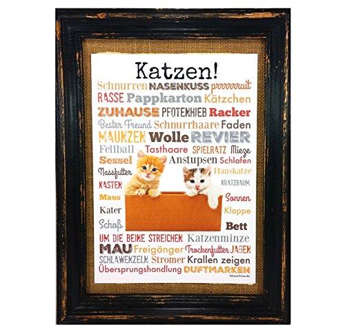 Katzen! Druck Poster A4 Geschenk AnneSvea Typo Deko Kater Katze Cat Haustier Pet