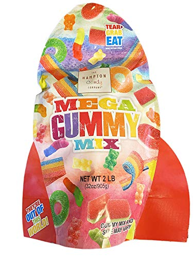 The Hampton Candy Company Mega Gummy Mix Candy 2 Lb! Assorted Flavors Gummy Candies! Includes Gummy Worms, Sour Belts, Gummy Bears and Gummy Rings! Sweet, Fun And Chewy Candy Treat For Kids! (Large)