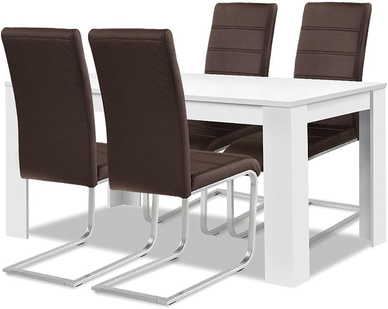 Agionda  Esstisch Stuhlset   1 x Esstisch Toledo Weiss 140 x 90 + 4 Freischwinger braun