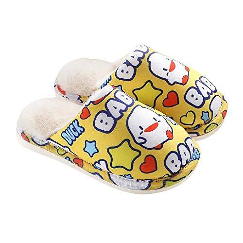 Y-PLAND Zapatillas de algodón para niños con dibujos animados, cálidas de invierno para bebé más pelusa para otoño e invierno antideslizantes para interior de algodón, color amarillo (28-29)