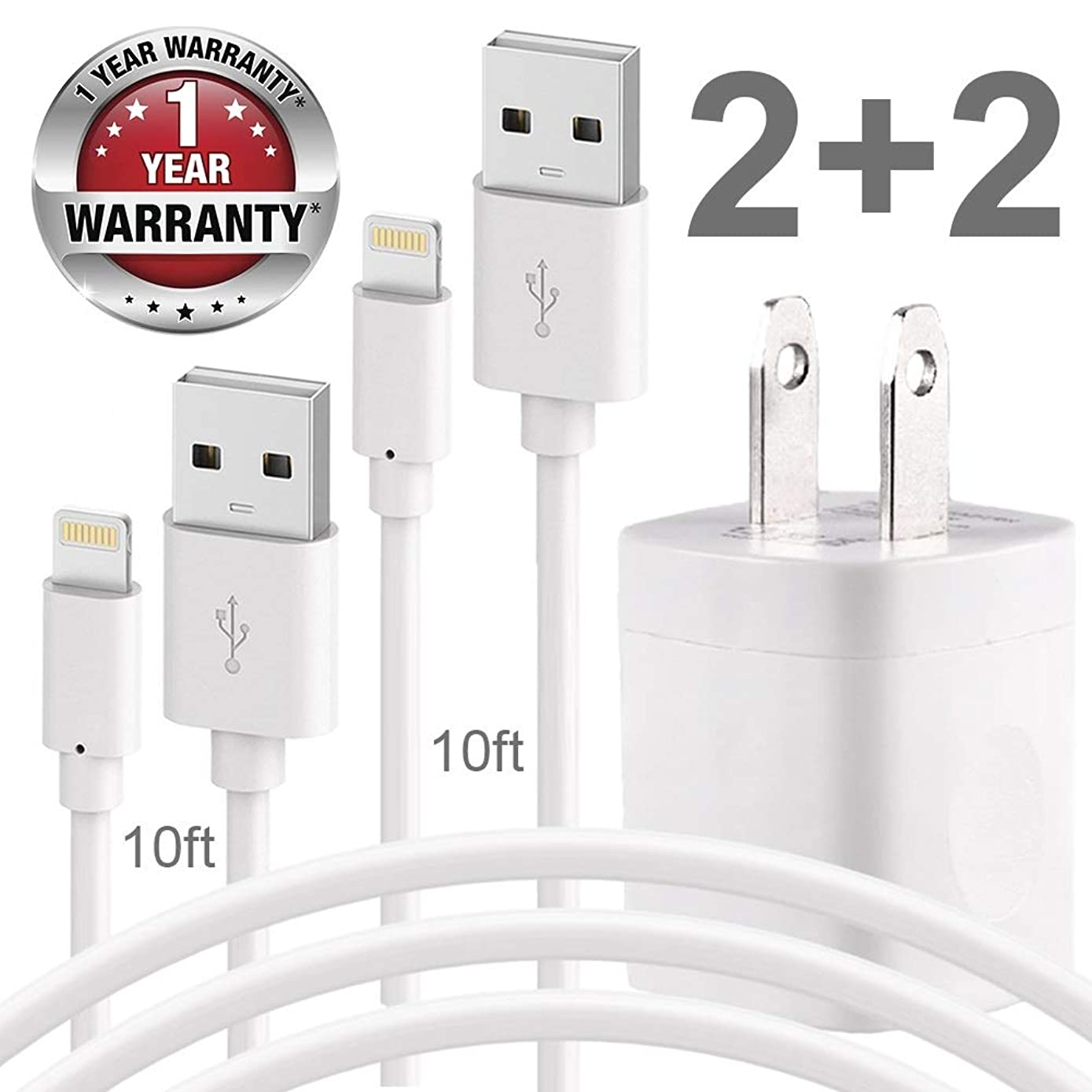 Charging Kit, Pack of two 10FT USB Data Sync Cord with Two AC Wall Phone Chargers Travel Power Plug Outlet Adapter Cube Compatible with Phone X 8 8Plus 7 6 6S 5 SE Plus Models Pod Pad and More - White