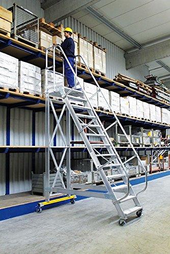 Günzburger Steigtechnik - Escalera de plataforma de aluminio, desplazable, 60 °, 13 niveles: Amazon.es: Jardín