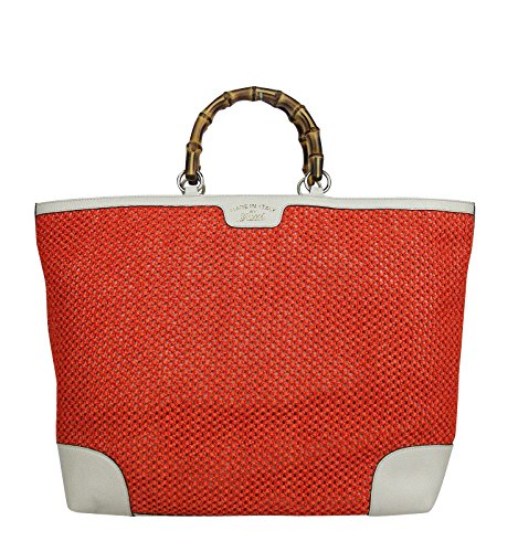 Gucci Women's Bamboo Orange Straw Leather Large Top Handle Tote Bag 338964 6273