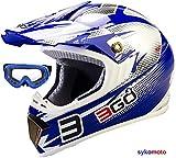 Casques Motocross Sport Moto Bicyclette Course Off-Road ATV Quad Karting ECE HOMOLOGUÉ SALETÉ Bleu avec des Lunettes (XS (53-54 CM))