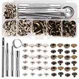 Leather Snap Fasteners Kit, Press Stud Stainless Steel Buttons for Marine Boat Canvas with Punching Tool Set Tool Kit (2 Components, 40 Pcs for Each)