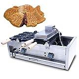NEWTRY Commercial Electric Taiyaki Fish Shaped Waffle Maker 2800W Stainless Steel Non-Sticky 6 pcs Japanese Fish Waffle Pancake Taiyaki Machine (220V)