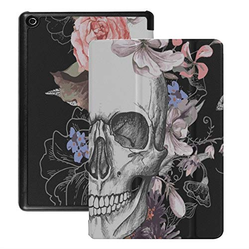 QIYI Case Fits Kindle Fire 8, Flowers Slimshell 3D Standing Case, Kids Protective Cover for Previous HD 8 Tablet (2016   2017   2018 Release) [NOT for 2020 Fire HD 8 Tablet] - Skull in Blossom
