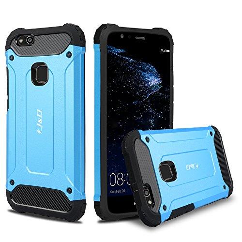 JundD Kompatibel für Huawei P10 Lite Hülle, [ArmorBox] [Doppelschicht] [Heavy-Duty-Schutz] Hybrid Stoßfest Schutzhülle für Huawei P10 Lite - [Nicht für Huawei P10/Huawei P10 Plus] - Blau