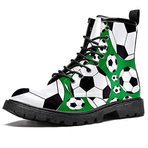 Botas de fútbol deportivas con estampado de balón de fútbol, botas de invierno para mujeres y niñas, botas de nieve cálidas de tobillo alto con cordones para la escuela, color Multicolor, talla 41 EU