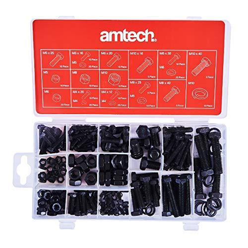 Am-Tech S6230 240pz SET DI DADI E BULLONI METRICI, Rosso - Nero - Argento