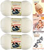 Bernat Softee Baby Yarn 3 Pack Bundle Includes 3 Patterns DK Light Worsted (White)