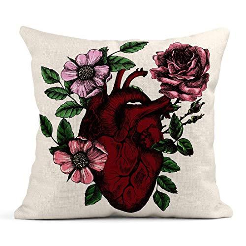 Dekokissen Love Blooming Anatomical Human Heart in Vintage für Ihre Tätowierung Andere poetische Körper Leinen Kissen Home Dekorative Kissen