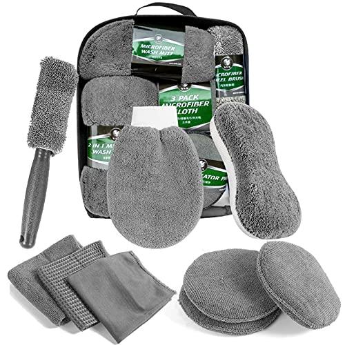Kit de Lavado de Coches,Kit Limpieza Coche,Microfibra Secado Toalla Limpieza,Guantes de Lavado de Coche,Kit de Lavado de Autos para Cuidado Coche,Herramientas de Limpieza de automóviles