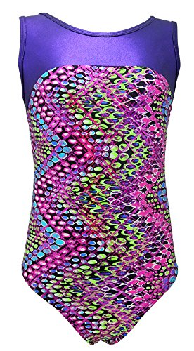 (dottedchevron, youth6-7) - MadSportsStuff Girls Gymnastics Leotard - Tank with Keyhole (Dotted Chevron, Youth 6-7)