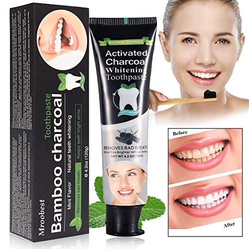 Teeth Whitening Toothpaste, Charcoal Teeth Whitening Toothpaste, Whitening Toothpaste, Charcoal Toothpaste, Naturally Eliminates Bad Breath and Tooth Stains - Mint flavor - 120G