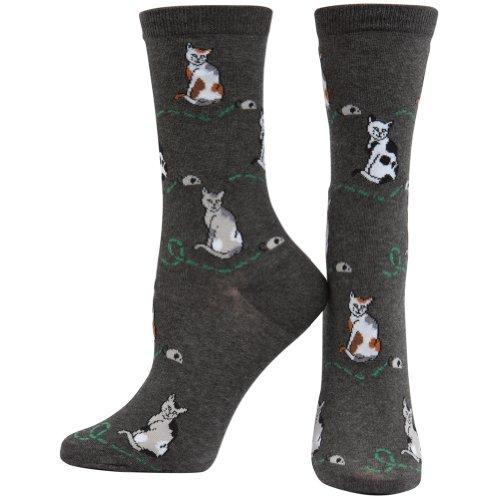 Animal World - Calcetines de gato y ratón (carboncillo), color gris, gris, Large