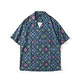 Camisa Hawaiana Para Hombre - Patrón Geométrico Impreso En 3D Hombres Playa Camisa Corta Botón Abajo Camisa Solapa Camisa Estampado Top Beachwear Verano Manga Corta Lapel Camisa Impresa, Verde, M