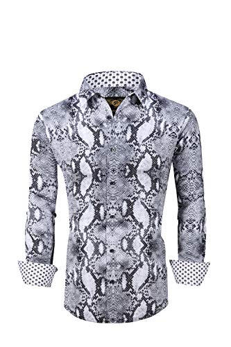 Mens Premiere Long Sleeve Button Down Designer Dress Shirt Animal Print Reptile Snake Skin Design Premium Untucked Shirt (Grey - 658, Large)
