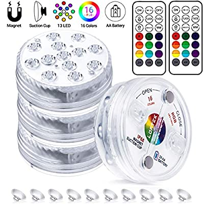 LOFTEK Submersible LED Lights with Remote RF,Magnets, Suction Cups, 13 LED Waterproof Underwater Led Lights 164FT Depth,RGB Multi-Color Pool Lights Battery Operated Pond Lights In Ground, 4 Packs
