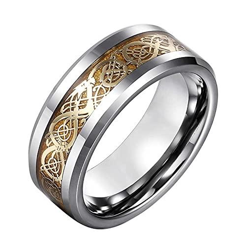 C2Jew Anillos de Runas de Tótem de Dragón Vikingo Escandinavo Nórdico Joyas de Amuleto Pagano Retro,Oro,12