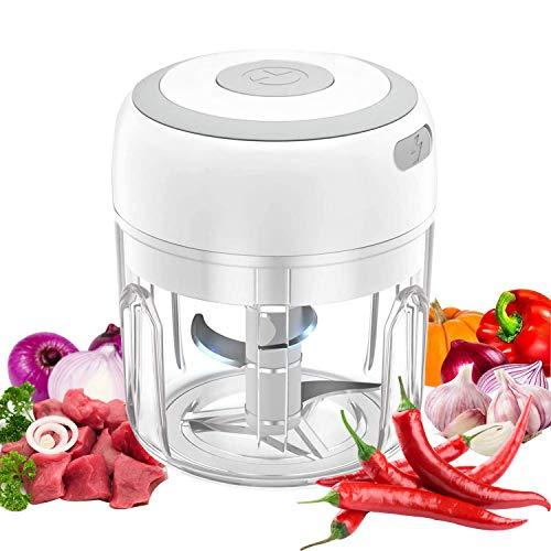 VOUM Mini Picadora de Ajo Eléctrica, 250ML Picadora de Alimentos y Cebolla, Inalámbrica, Recargable y Portátil para Ajo/Chile/Verduras/Cebollas/Nueces/Pimienta/Jengibre (Blanco)