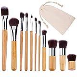 Brochas de Maquillaje Profesional Juego de Cepillo de Maquillaje de Bambú para Ojos Rubor Contorno de los Labios Corrector Brochas con Bolsa 11 Piezas