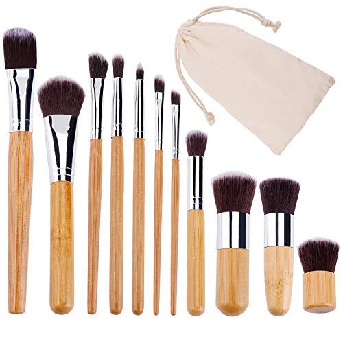 Pinceaux de Maquillage Professionnel Cosmétique Brush en Bambou Beauté Brosse Makeup Brushes pour Fondation Fond de Teint Blush Correcteurs avec Sacs 11 Pièces