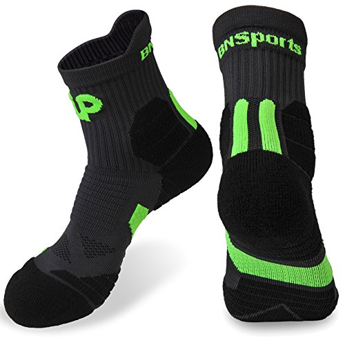 Workout Training Socks in Coolmax Athletic Men's Crew Seamless Toe for Hiking Walking Running (Green 1pair)