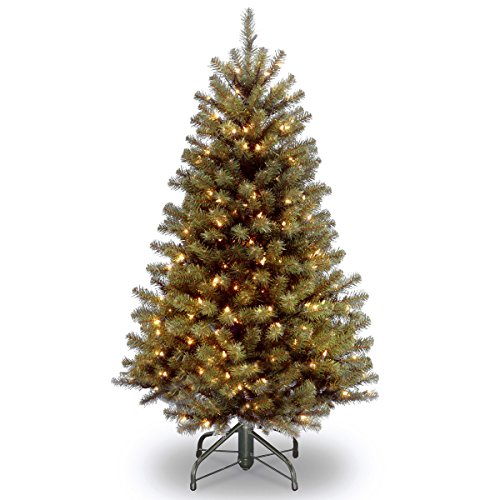 National Tree Company Pre-lit Artificial Christmas Tree | Includes Pre-strung White Lights and Stand | North Valley Spruce - 4.5 ft