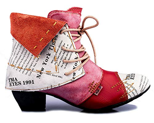 TMA 6106 Damen Stiefeletten Leder rot - EUR 37