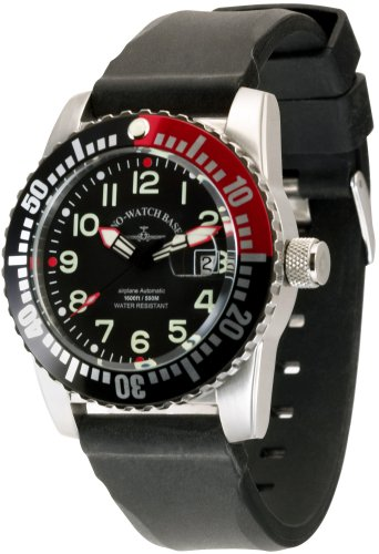 Zeno Watch Basel Airplan Diver 6349-12-a1-7 - Reloj de caballero automático con correa de piel negra
