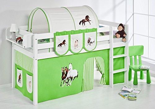 Lilokids Spielbett Jelle Pferde, Hochbett mit Vorhang Kinderbett, Holz, grün/beige, 208 x 98 x 113 cm