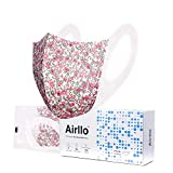 Airllo Adult Face Masks Washable Reusable Disposable Breathable, Thin, Lightweight, Individually Wrapped Mask Safety Anti-Acne Hypoallergenic Respirators for Dust Protection 5-Layer, Pink Floral (20)