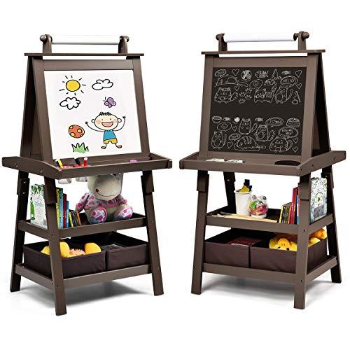 COSTWAY 3 in 1 Kinder Staffelei, Kindertafel doppelseitig, Whiteboard & Kreidetafel & Zeichenpapier, Standtafel inkl. Magneten, 2 Regalebenen Holztafel mit 2 Aufbewahrungsboxen (Kaffe)