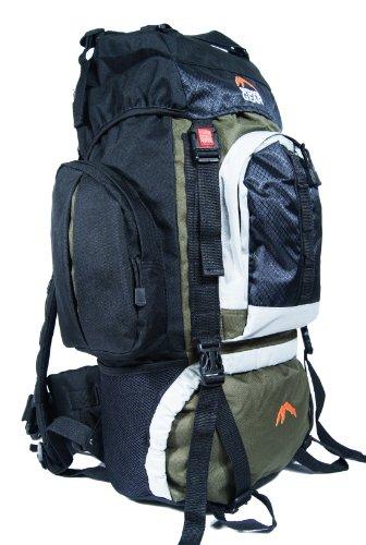 Outdoor Gear L2304 - Zaino da campeggio/hiking, nero (verde oliva), 50L