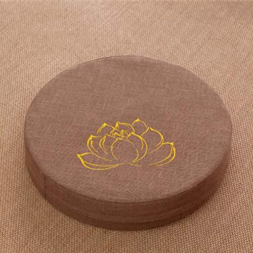 ZZFF Almohada De Meditación De Lino De Color Sólido,Redondo Espesan Cojín De Puf para Yoga,Impresión De Lotus Perezoso Tatami Futon con Lavable Extraíble Cubrir F 50x50x10cm(20x20x4inch)