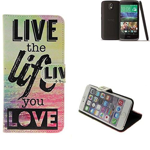 K-S-Trade Schutzhülle Kompatibel Mit HTC Desire 526G Dual SIM Schutz Hülle 360° Wallet Case ''live Life Love'' Schutzhülle Handy Tasche Handyhülle Etui Smartphone Flip Cover Standfunktion (1x)