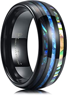 8mm Unique Tungsten Rings with Abalone Shell Red Opal Inlaid Inlay for Men Women