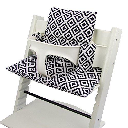 Babys-Dreams Sitzkissen Auflage Sitzkissenset für Stokke Tripp Trapp Hochstuhl *20 FARBEN* Ersatzkissen Kissen 2 teilig (Schwarz Weiße Karos)