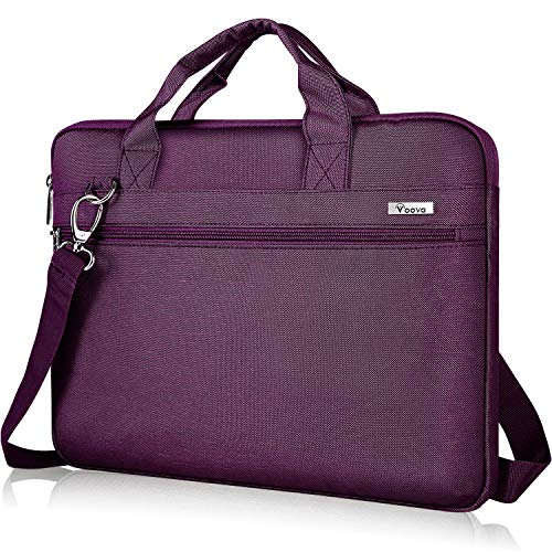 Voova 15.6 Inch Laptop Bag 15 Inch Laptop Sleeve Bag with Handle Shoulder Strap Waterproof Laptop Bag Notebook Bag Shoulder Bag for MacBook Pro 15.4 16 / Surface Book 15, Women Men Purple