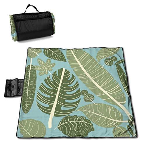 Nonebrand Manta de picnic con patrón sin costuras, diseño de hojas tropicales – Manta de picnic al aire libre, lavable, plegable, impermeable, para picnic, camping, playa, tamaño grande de 57 x 59 pulgadas