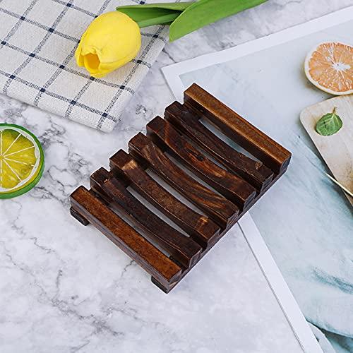 Bandeja de jabón de madera natural y bambú para almacenamiento de jabón, bandeja de metal, jabonera de baño, plato de ducha y baño (color: D)