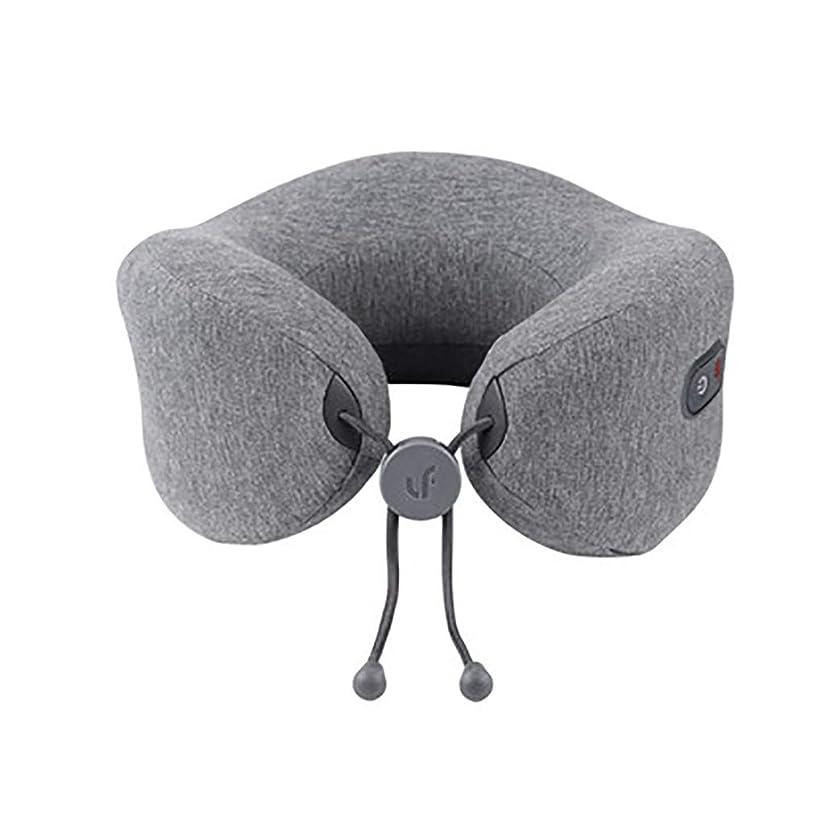 胆嚢たっぷり険しいU字型枕頚部マッサージャー、充電式ポータブル加熱振動多機能首マッサージャー、首の硬さと筋肉の減圧、家庭/オフィス/車