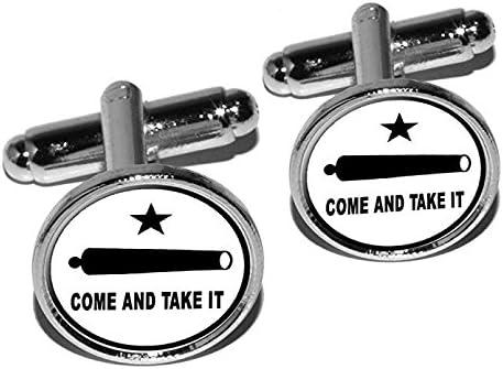 Come and Take it - Texas Round Rare Set supreme Silv Revolt Cufflink Flag